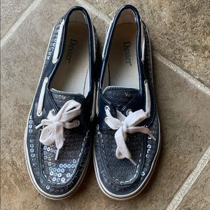 Dexter size 5 girls blue boating style shoes